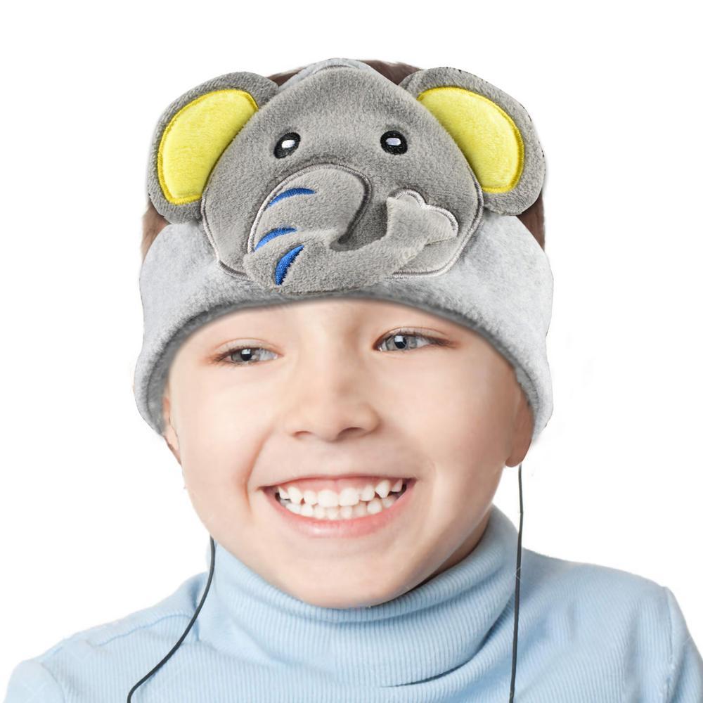 Kids Headphones Volume Limiter Machine Washable Fleece Headphones for Children Travel/Home w/ Adjustable Band (Elephant)