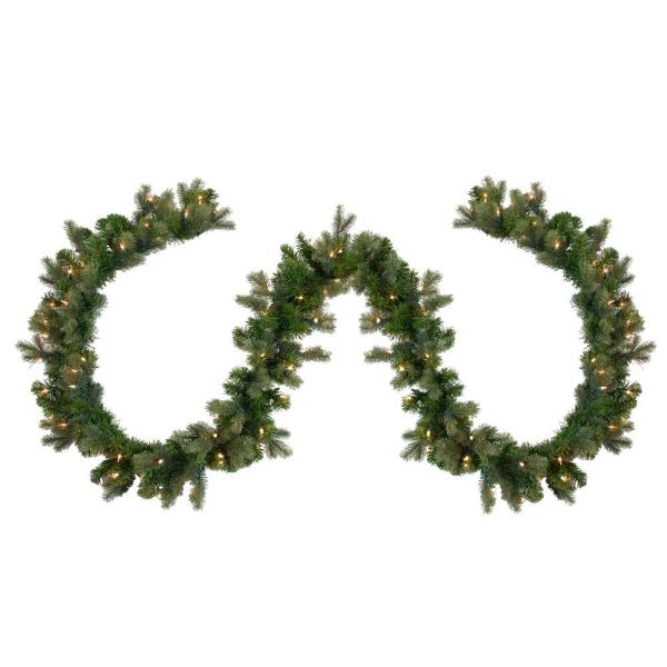 108 in. Pre-Lit Savannah Spruce Artificial Christmas Garland with Clear Lights