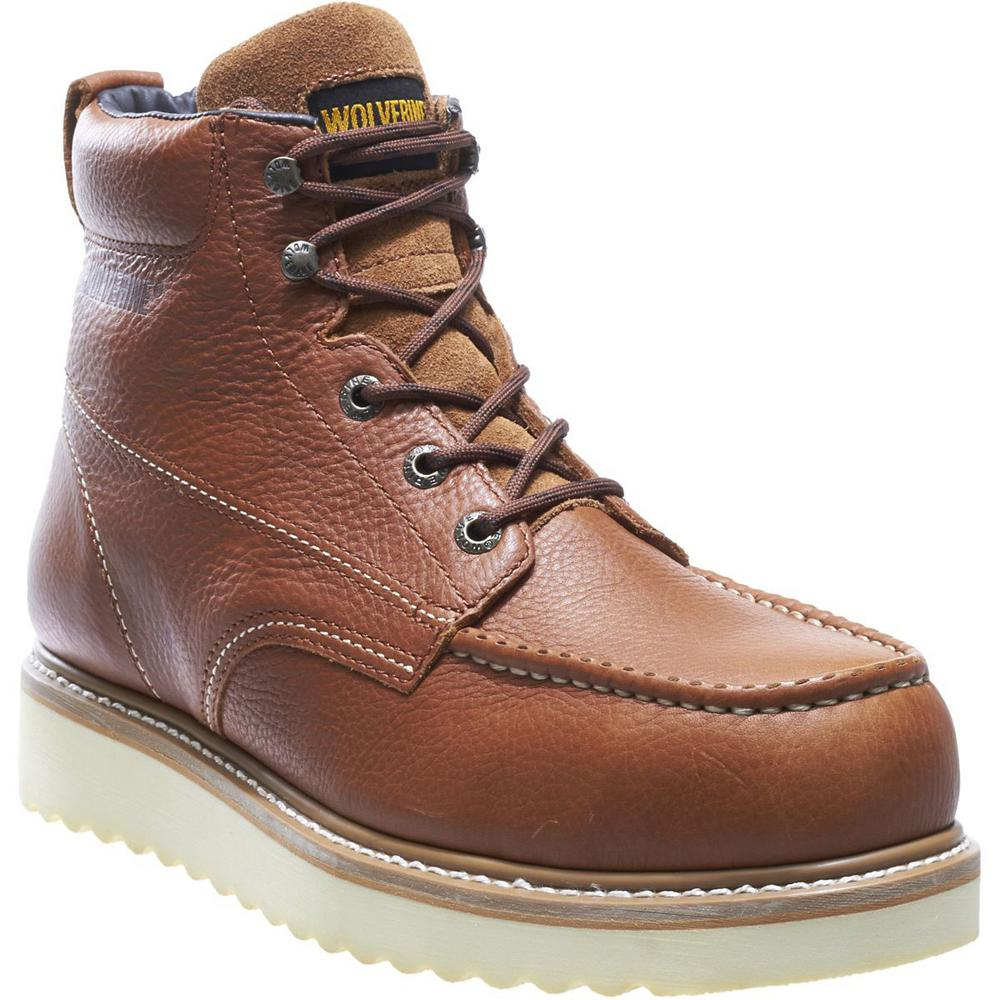 Wolverine Men's Work Wedge 6'' Work Boots Steel Toe Tan Size 8.5(W)