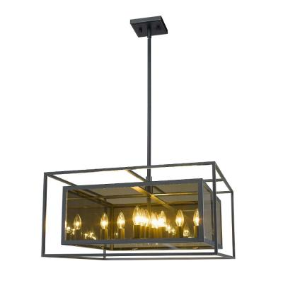 12-Light Misty Charcoal Pendant with Smoke Mirror Glass Shade