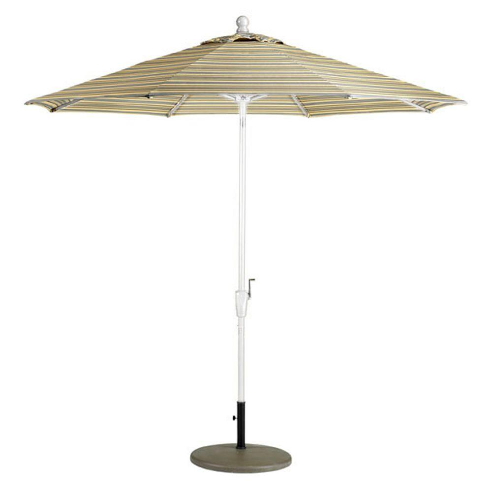 Home Decorators Collection Sunbrella 11 ft. Auto-Crank Tilt Patio Umbrella in Foster Metallic Stripe-DISCONTINUED