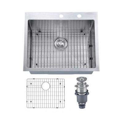 Pro Series R10 Tight Radius Handmade 25 in. 16-Gauge Stainless Steel Drop-in Modern Single Bowl Kitchen Sink