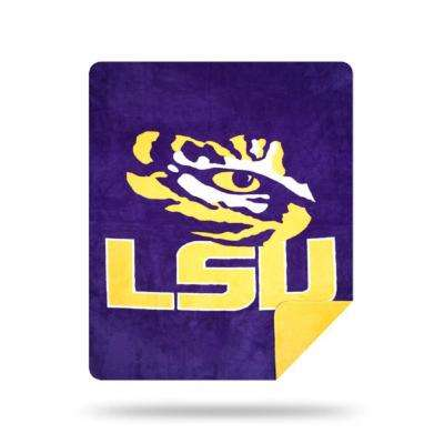 COL 361 LSU Sliver Multi Color Acrylic Knit Throw
