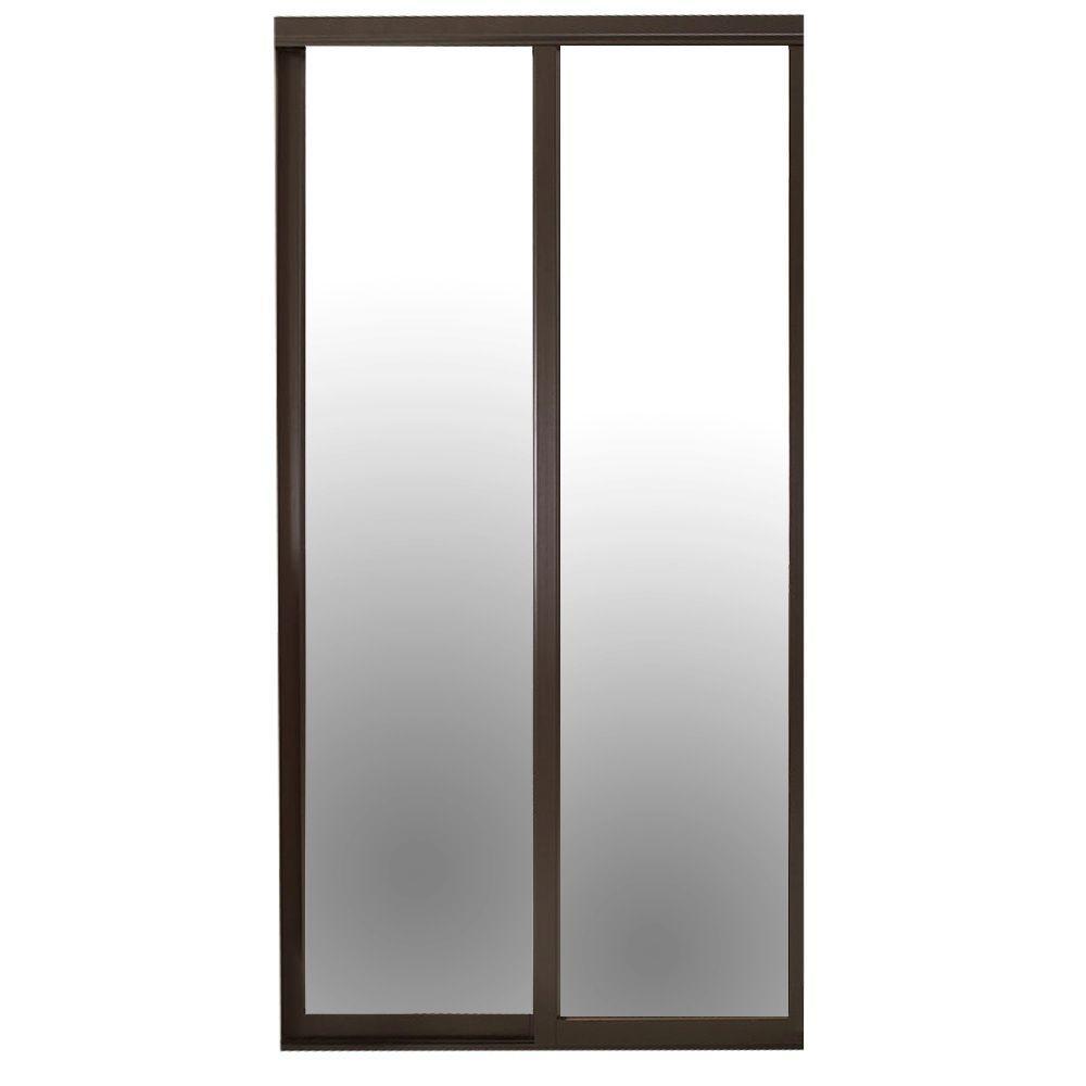 Contractors Wardrobe 96 In X 81 In Serenity Mirror Espresso Wood