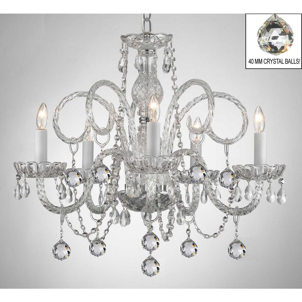 Murano empress crystal 5 light chandelier with faceted crystal balls murano empress crystal 5 light chandelier with faceted crystal balls aloadofball Image collections