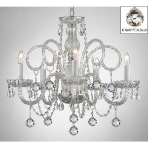 Murano Empress Crystal 5-Light Chandelier with Faceted Crystal Balls by