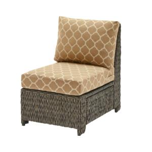 Laguna Point Brown Wicker Armless Middle Outdoor Patio Sectional Chair with CushionGuard Toffee Trellis Tan Cushions