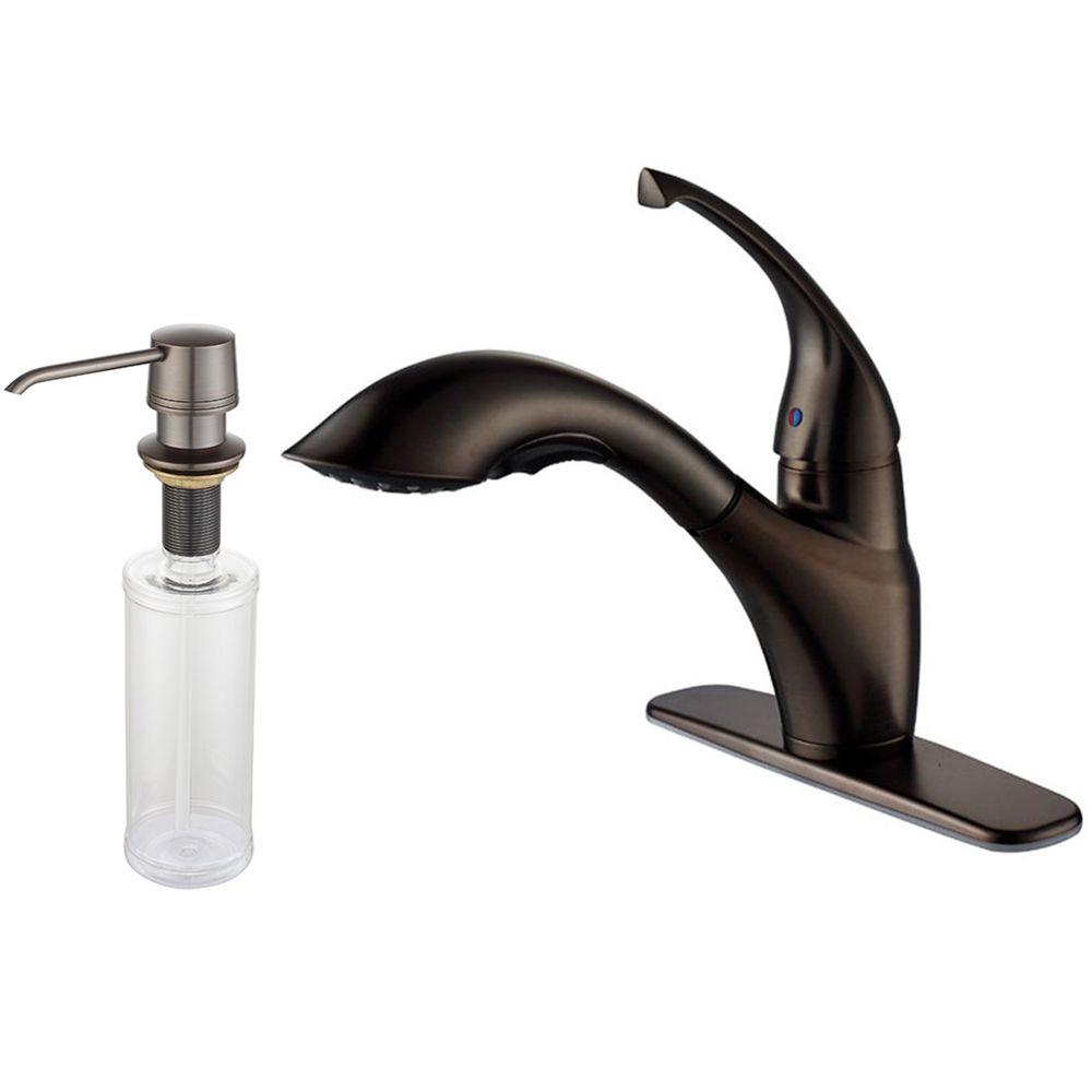 KRAUS Single-Handle Low-Arc Pull-Out Sprayer Kitchen Faucet and Dispenser in Oil Rubbed Bronze