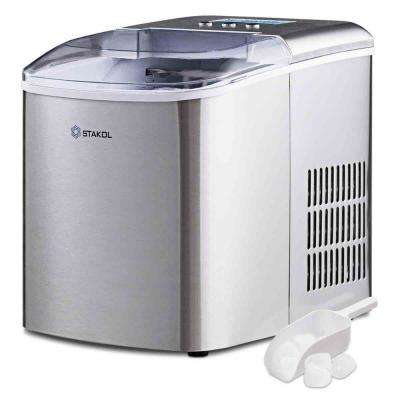 10 in. W 20 lbs. Portable Ice Maker with LCD Display and Ice Scoop in Sliver