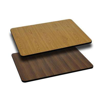 30 in. x 48 in. Rectangular Table Top with Natural or Walnut Reversible Laminate Top