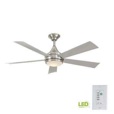 Hanlon 52 in. Integrated LED Indoor/Outdoor Stainless Steel Ceiling Fan with Light Kit and Wall Control