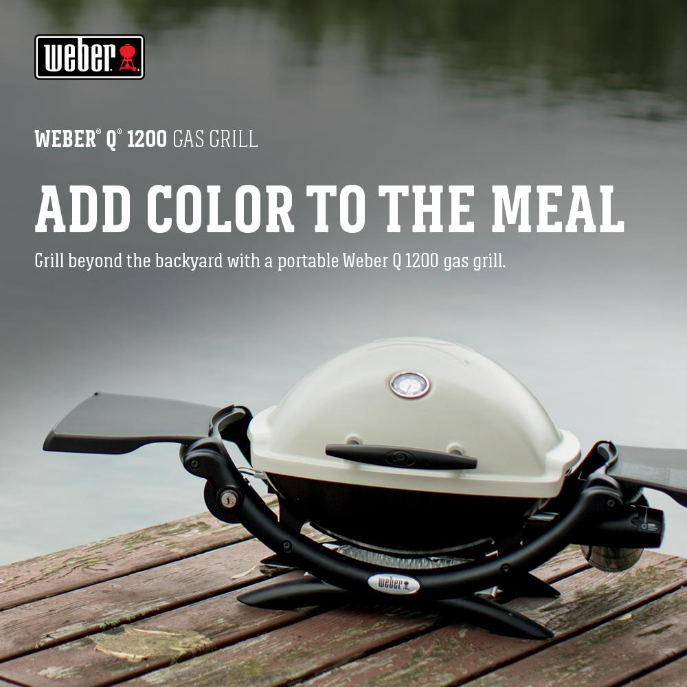 Weber Gas Bbq Q1200.Weber Q 1200 1 Burner Portable Tabletop Propane Gas Grill In Titanium With Built In Thermometer