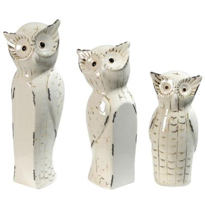 Vivek Off-White Owl Statues (Set of 3)