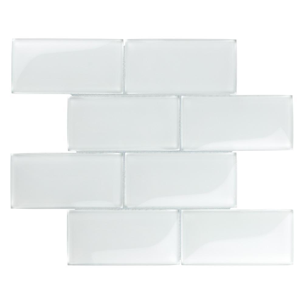 Merola Tile Igloo Convex Subway Ice White 11 5 8 In X 7 12 Mm Gl Mosaic