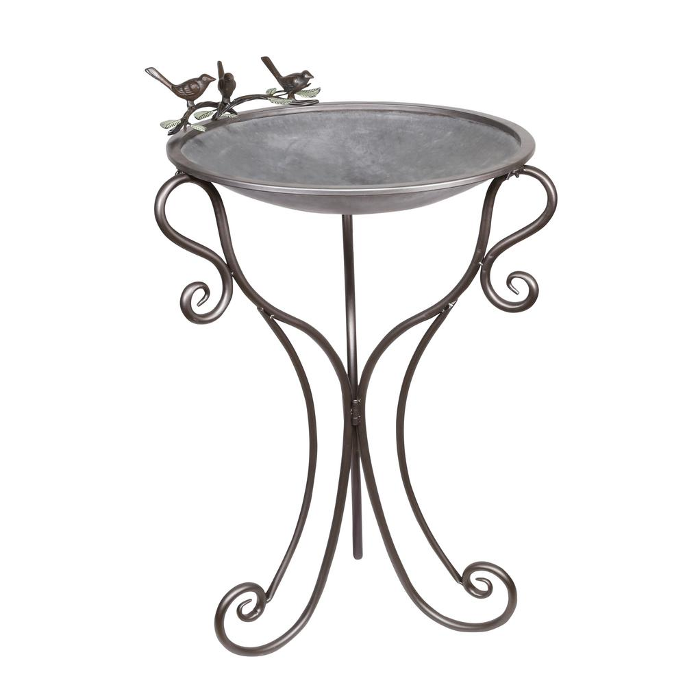 Alpine 24 in. Tall Metal Birdbath with Birds and Leaves