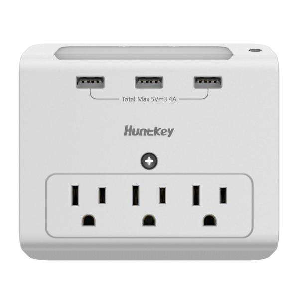3.4 Amp Wall Mount 3-Outlets with 3 USB Ports Auto Sensor Night-Light
