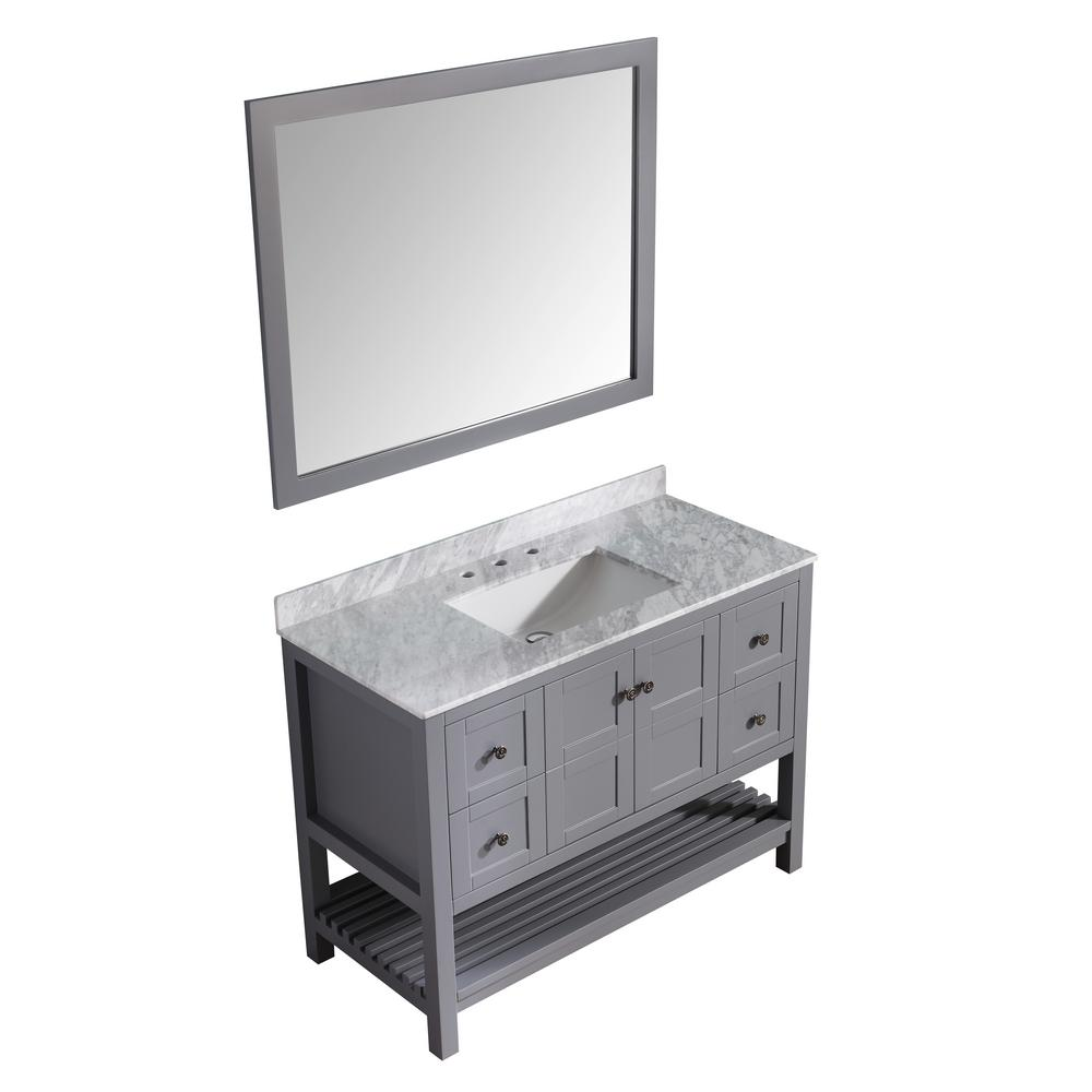 ANZZI Montaigne 48 in. W x 22 in. D Vanity in Gray with Marble Vanity Top in Carrara White with White Basin and Mirror