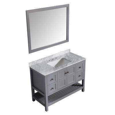 Montaigne 48 in. W x 22 in. D Vanity in Gray with Marble Vanity Top in Carrara White with White Basin and Mirror