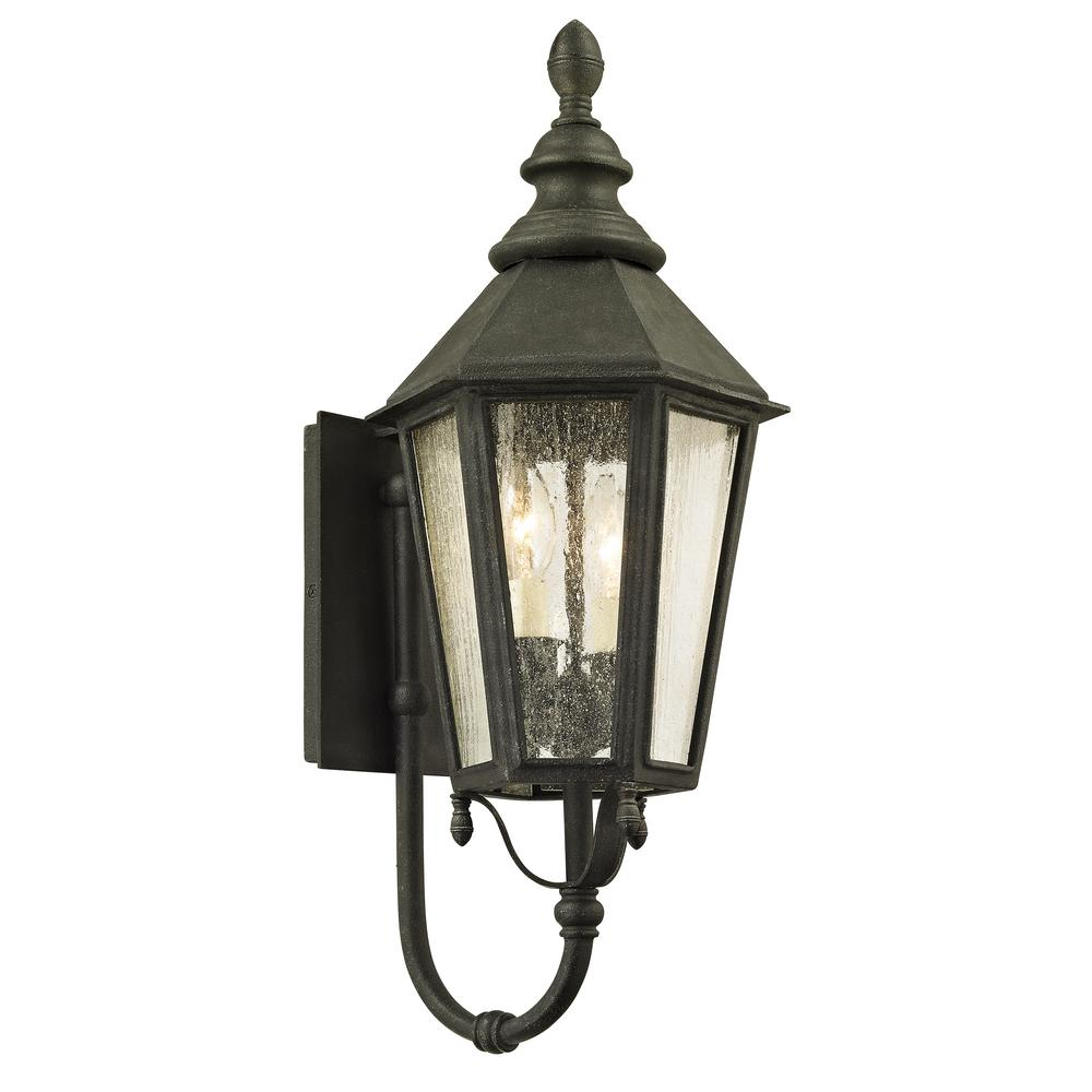 Troy Lighting Savannah 2 Light Vintage Iron 23 25 In H Outdoor Wall Lantern Sconce With Clear Seeded Gl