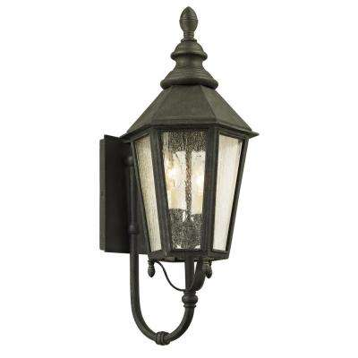 Savannah 2-Light Vintage Iron 23.25 in. H Outdoor Wall Lantern Sconce with Clear Seeded Glass