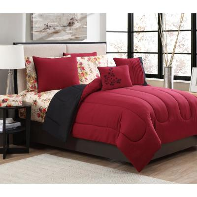 Floral 7-Piece Burgundy Twin Comforter Set