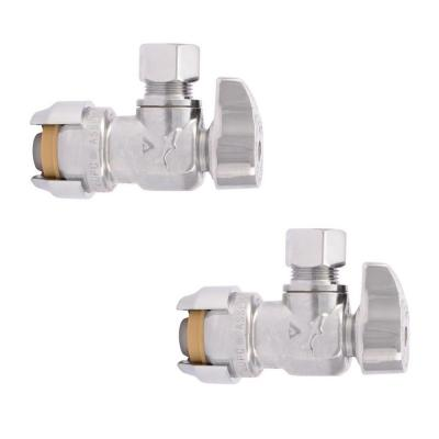 1/2 in. Push-to-Connect x 3/8 in. O.D. Compression Chrome-Plated Brass Quarter-Turn Angle Stop Valve (2-Pack)
