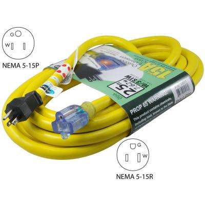 25 ft. STW 10/3 Super Heavy Duty Outdoor Jacket Lighted End Extension Cord