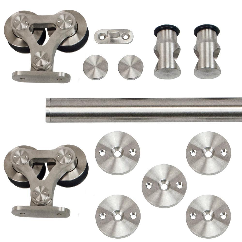 96 in. Stainless Steel Top Mount Dual Wheel Rolling Door Hardware Kit for Wood Doors