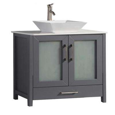 Dijon 48 in. W x 18 in. D x 36 in. H Bath Vanity in Grey with Quartz Vanity Top in Off-White with White Basin