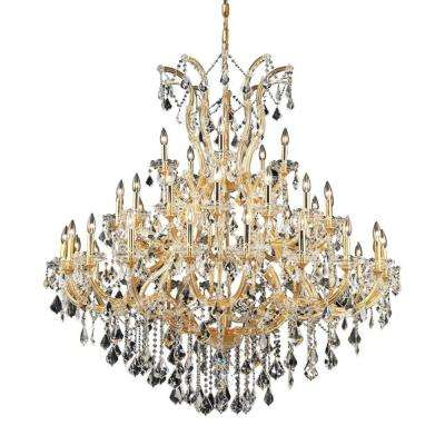 41-Light Gold Chandelier with Clear Crystal