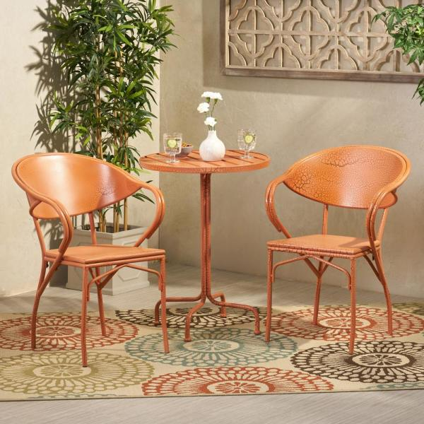Palm Desert 30 in. Crackle Orange 3-Piece Metal Round Outdoor Bistro Set