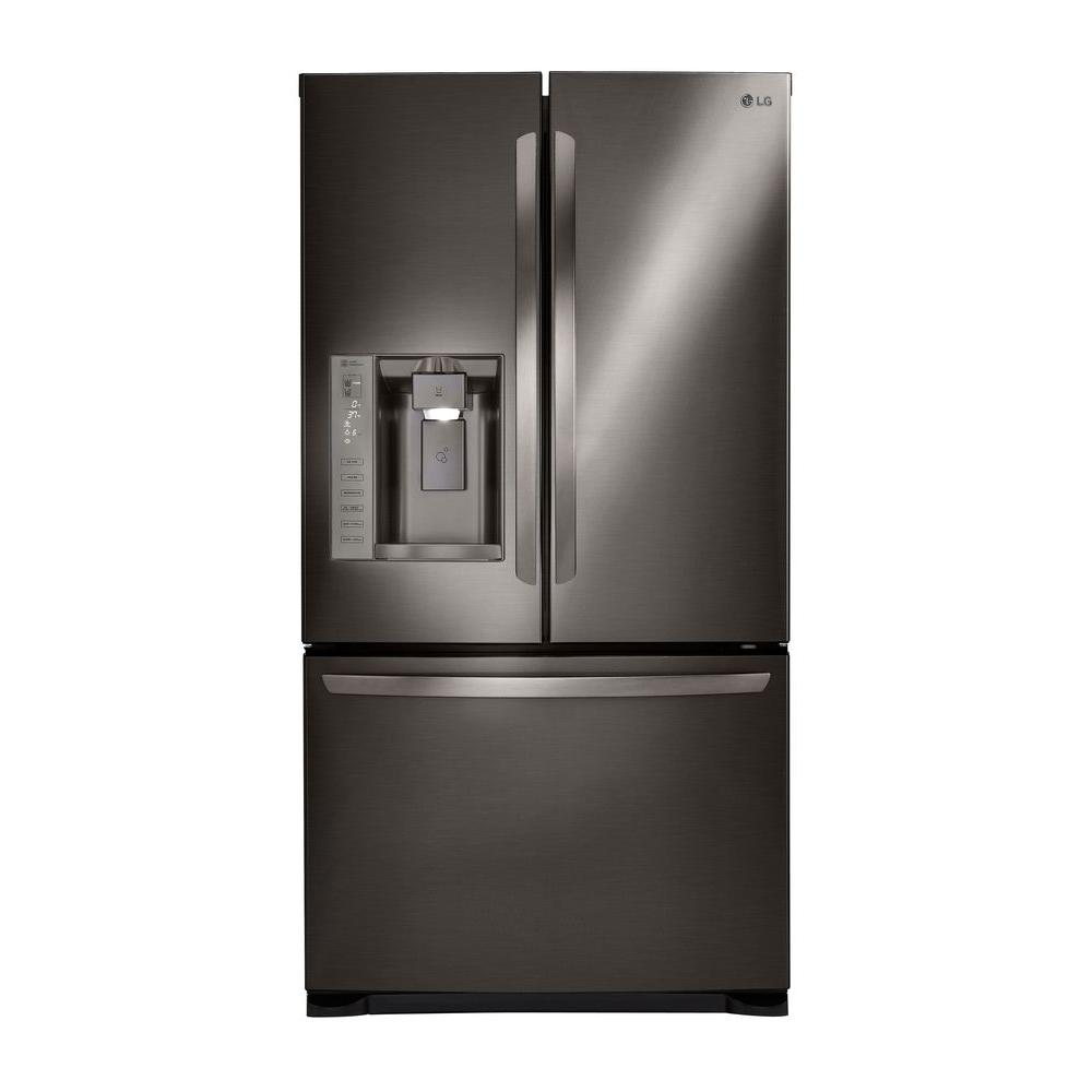 French Door Refrigerator in Black Stainless Steel Dual  sc 1 st  The Home Depot & LG Electronics 24.1 cu. ft. French Door Refrigerator in Black ...