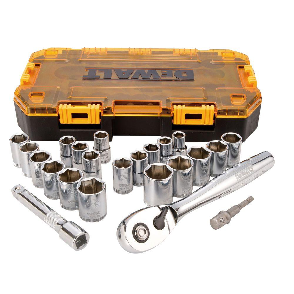 DEWALT 1/2 in. Drive Combination Socket Set with Case (23-Piece)