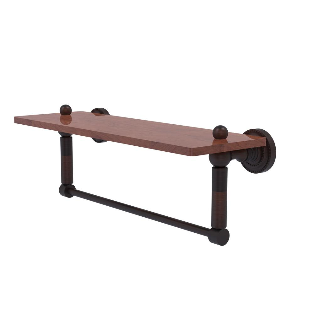 Dottingham Collection 16 in. Solid IPE Ironwood Shelf with Integrated Towel