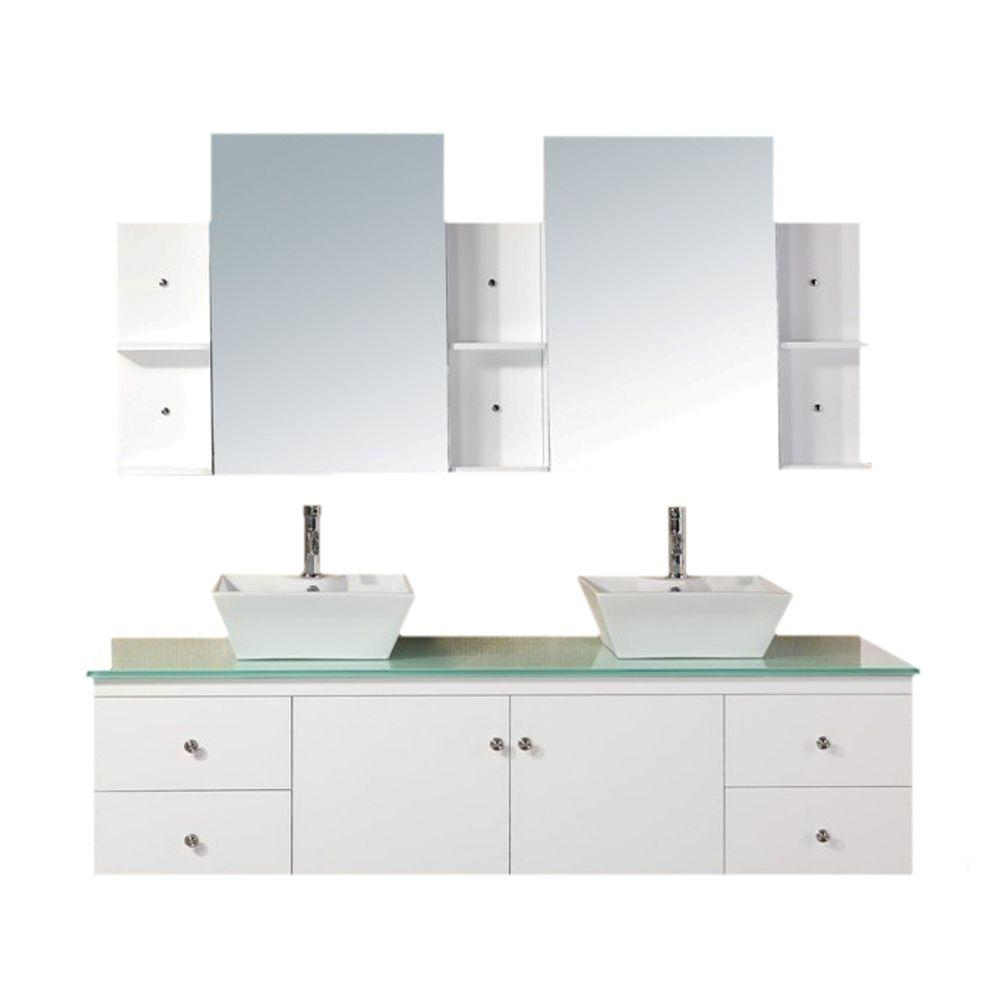 Design Element Portland 71.75 in. W x 22 in. D Vanity in White with Tempered Glass Vanity Top and Mirror in Aqua Green