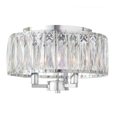 3-Light Chrome Flush Mount