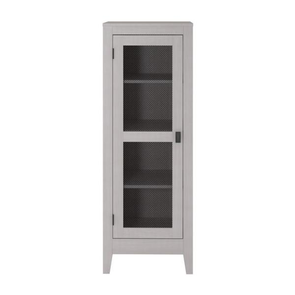 System Build Luca Ivory Oak Storage Cabinet with Mesh Door