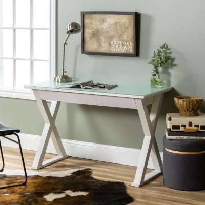 Home Office 48 in. Glass and Metal White Computer Desk