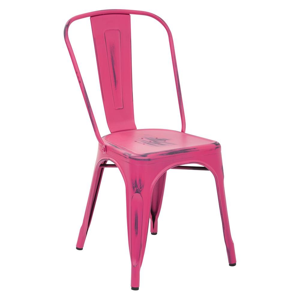 Bristow Antique Pink Armless Metal Chair (2-Pack)