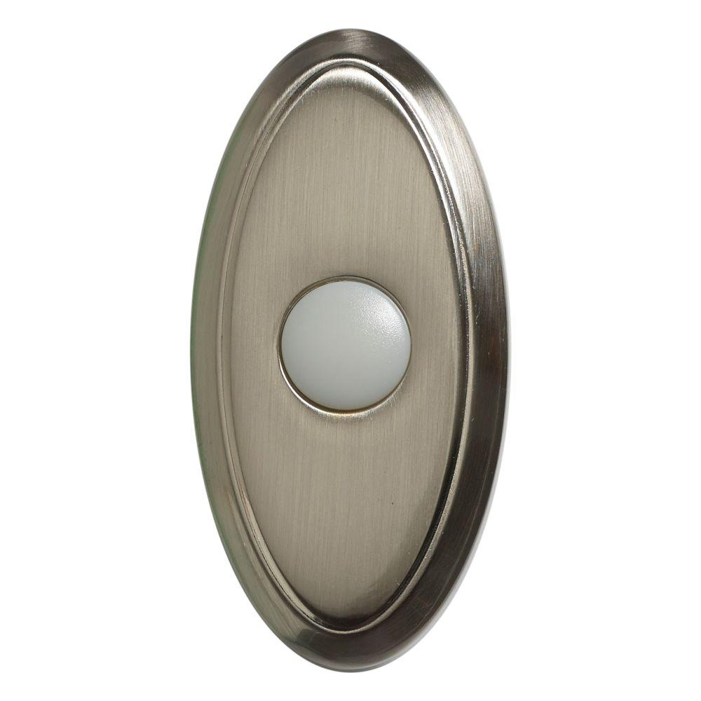 Wireless door bell push button brushed nickel 216592 for Door bell push