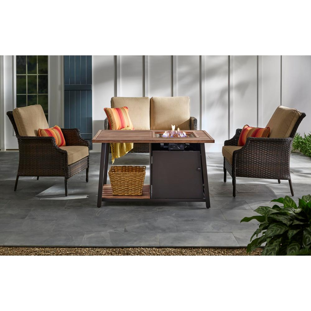 Hampton Bay Fordham 46 in. W x 26 in. H Rectangular Powder Coated Steel LP Fire Pit Coffee Table in Faux Wood with Lava Rocks