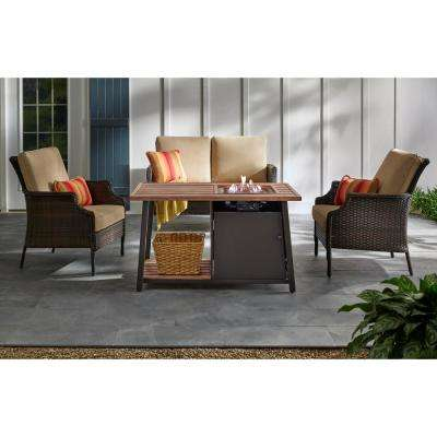Fordham 46 in. W x 26 in. H Rectangular Powder Coated Steel LP Fire Pit Coffee Table in Faux Wood with Lava Rocks