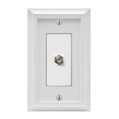 Deerfield 1 Gang Coax Composite Wall Plate - White