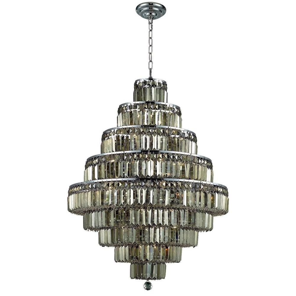20-Light Chrome Chandelier with Golden Teak Smoky Crystal