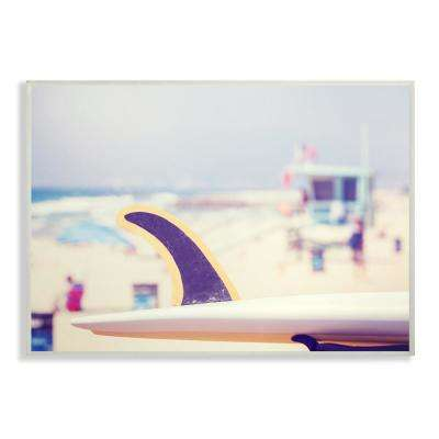 "12.5 in. x 18.5 in. ""Surfboard on Beach Photograph"" by Daphne Polselli Printed Wood Wall Art"