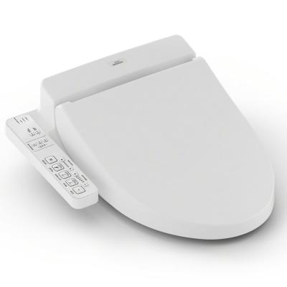 WASHLET C100 Electric Bidet Seat for Round Toilet with PREMIST in Cotton White