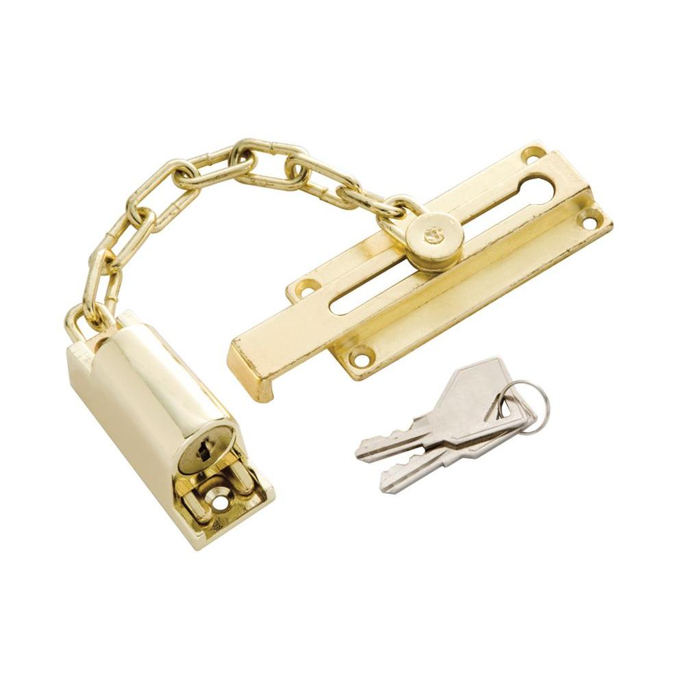 First Watch Security Polished Brass Keyed Chain Door Guard