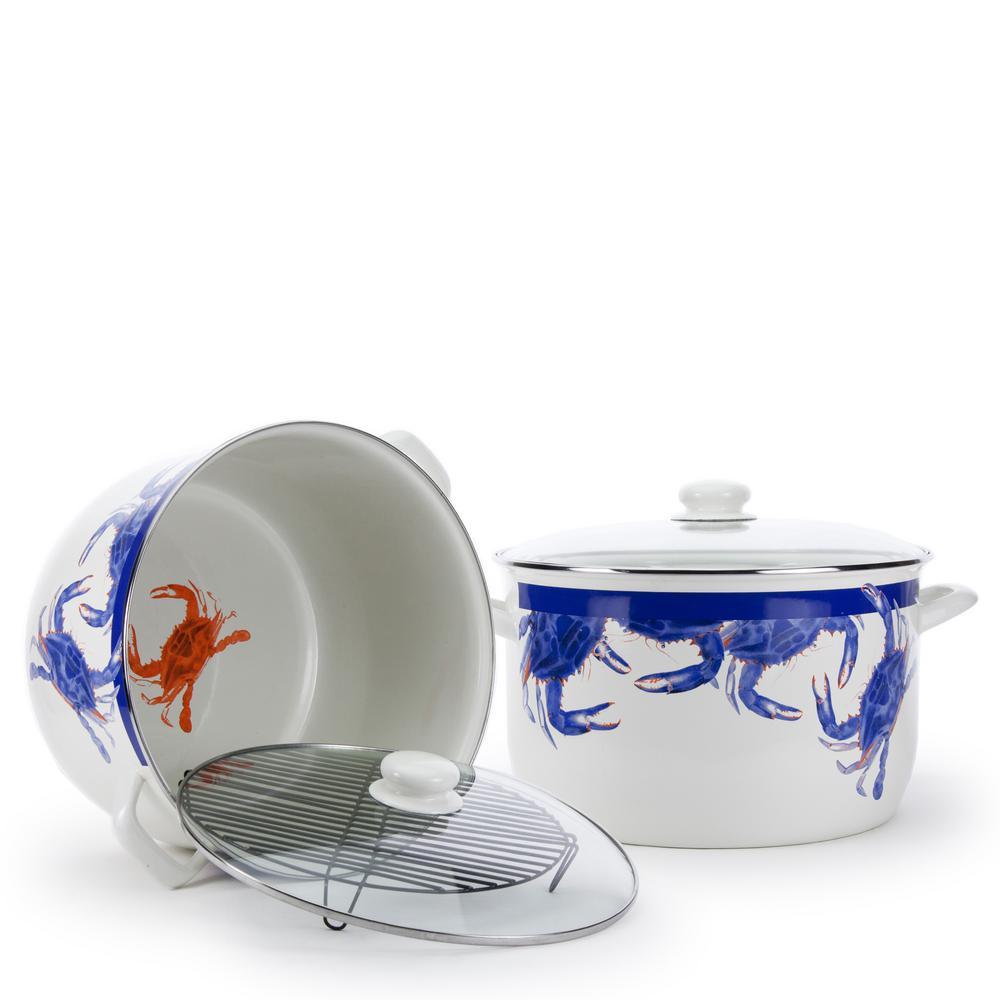 Golden Rabbit Blue Crab 18 qt. Enamelware Stock Pot with Lid