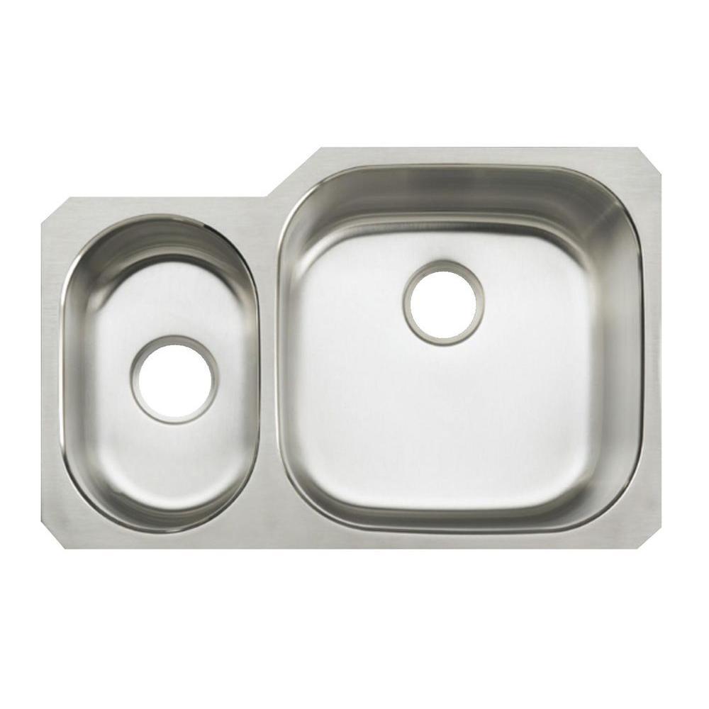 KOHLER Undertone Undermount Stainless Steel 31 in. Double Bowl Kitchen Sink