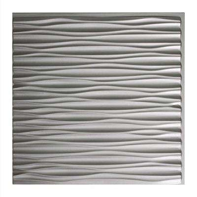 Dunes Horizontal - 2 ft. x 2 ft. Glue-up Ceiling Tile in Argent Silver